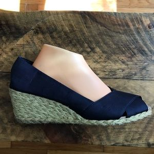 Ralph Lauren shantung silk rope jute wedge navy 11